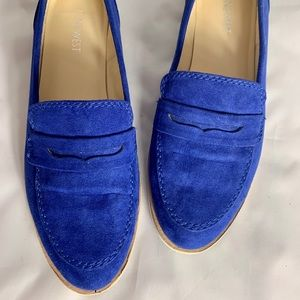 Nine West Audetteo Blue Suede Like Oxford Loafers